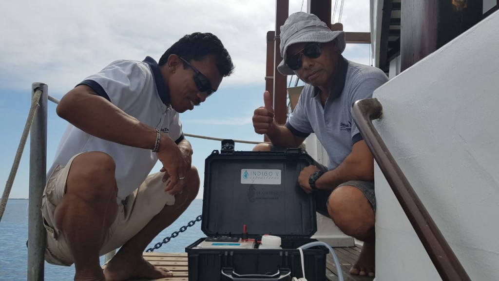 auto sampling device on Ombak Putih - Copyright: SeaTrek Sailing Adventures